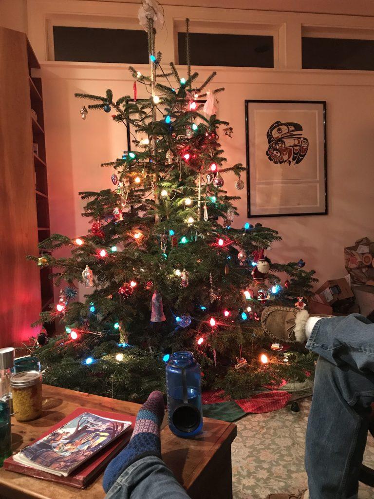 Family time around the tree with carols.